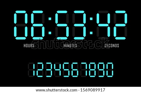 Countdown website vector flat template digital clock timer background. Countdown timer. Clock counter. Digital scoreboard. Vector illustration.