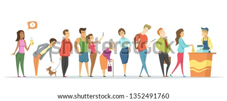 Counter and worker vector, people waiting in long line, tired man and woman, pet dog, senior lady with stick, teenager with rucksack. Market service