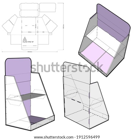 Counter display stand and Die-cut Pattern. Prepared for real cardboard production.  Foto stock ©
