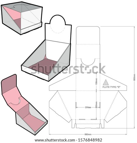 Counter display stand and Die-cut Pattern. The .eps file is full scale and fully functional. Prepared for real cardboard production. Stock foto ©
