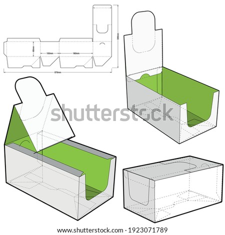 Counter display stand and Die-cut Pattern. The .eps file is full scale and fully functional. Prepared for real cardboard production. The .eps file is full scale and fully functional. Foto stock ©