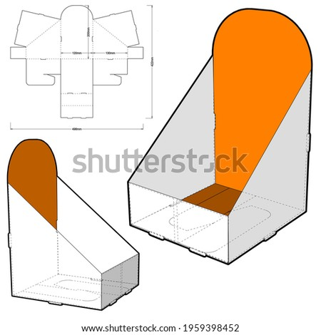 Counter display stand and Die-cut Pattern. The .eps file is full scale and fully functional. Prepared for real cardboard production. The .eps file is full scale and fully functional. Photo stock ©