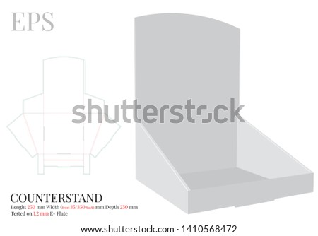 Counter Display Template, Vector with die cut / laser cut layers. Counter Stand, Header Shelf Box. White, clear, blank, isolated Counter Display mock up on white background with perspective view
