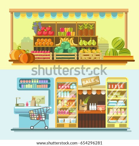 Counters of shop or store and supermarket product vector flat displays