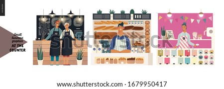 Counters -small business graphics. Modern flat vector concept illustrations -set of counters - pizza house, bakery, froxen yoghurt bar. Owners or vendors wearing apron at the counter