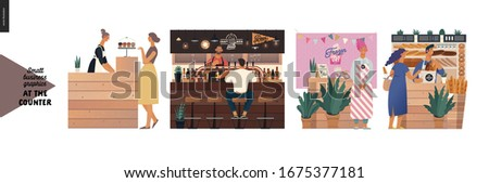 Counters -small business graphics. Modern flat vector concept illustrations -set of counters - cake shop, craft beer pub, frozen yoghurt, bakery. Owners wearing apron at the counter