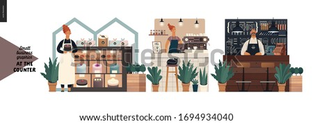 Counters -small business graphics. Modern flat vector concept illustrations -set of counters - cake shop, cat cafe, burger house. Owners wearing apron at the counter