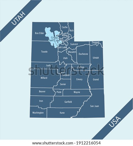 Counties map of Utah labeled Stock photo ©