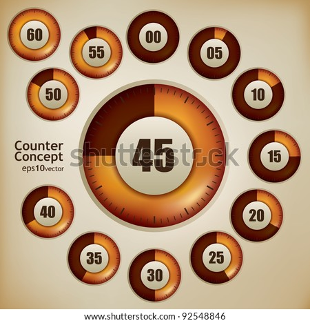 Counting device design set with twelve steps - stock vector