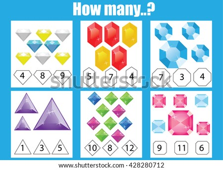 Counting educational children game. How many objects task, choose the right answer. Learning mathematics, numbers, addition theme