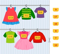 Counting educational children game, math kids activity sheet. Cartoon clothes in the wardrobe.