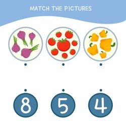 Counting educational children game, math kids activity sheet. How many objects task. Cartoon vegetables.