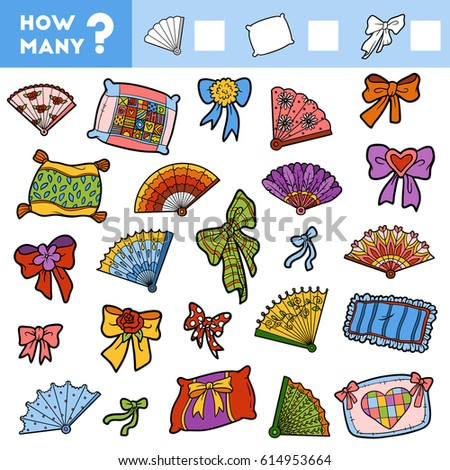 Counting Game for Preschool Children. Educational a mathematical game. Count how many items and write the result! Pillows, fans and bows