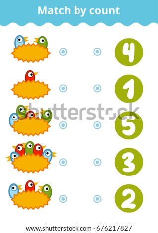 Counting Game for Preschool Children. Educational a mathematical game. Count the birds and choose the right answer.