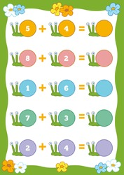 Counting Game for Preschool Children. Educational a mathematical game. Count the numbers in the picture and write the result