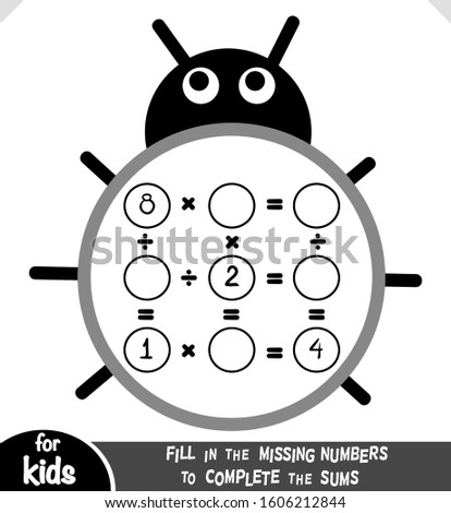 Counting Game for Preschool Children. Educational a mathematical game. Count the numbers in the picture and write the result. Multiplication and division worksheets with ladybug