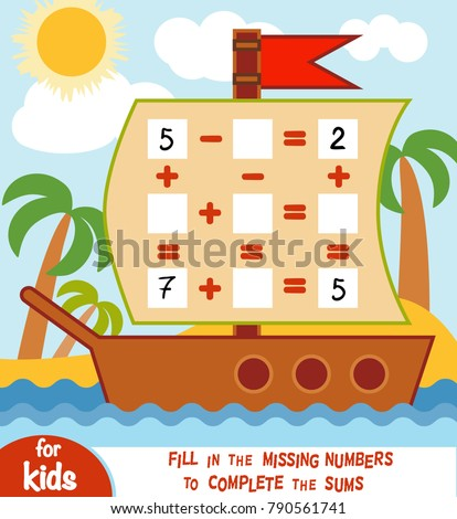 Counting Game for Preschool Children. Educational a mathematical game. Count the numbers in the picture and write the result. Addition and subtraction worksheets in the background of the ship
