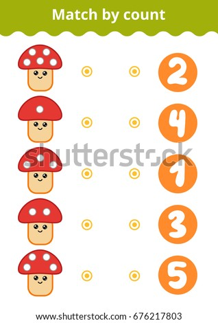 Counting Game for Preschool Children. Educational a mathematical game. Count the points on the mushroom and choose the right answer.