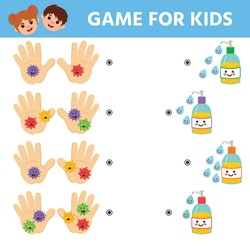 Counting Game for Preschool Children. Medicine  theme. Hand detergent protects against viruses and bacteria. Worksheet
