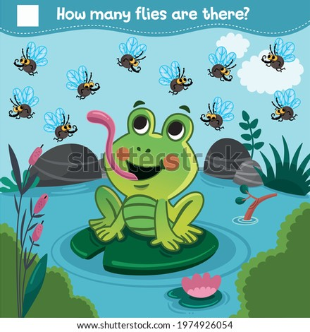 Counting game with cartoon frog and flies for children. How many flies are there? Count the flies. Educational illustration for kids. Vector illustration.