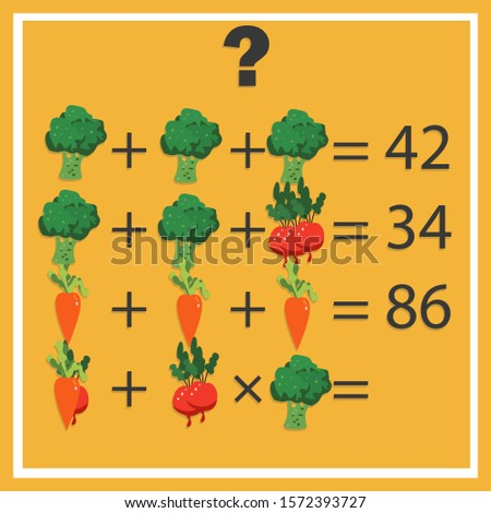 Counting games for kids and adults. Educational math game. Result. Riddle for the mind. Riddle with numbers. Vector