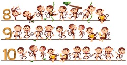 Counting numbers with monkeys illustration