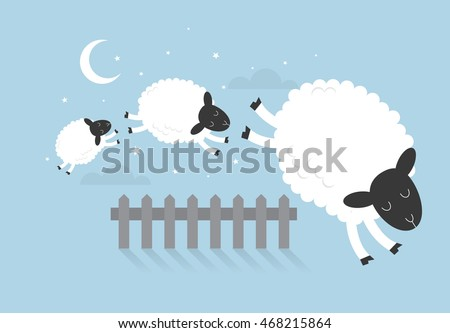 counting sheep vector/illustration