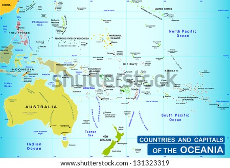Countries and capitals of the Oceania