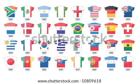 countries flags icons in jersey design, for international games. - stock vector