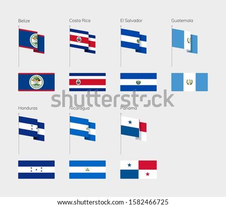 Countries of Central America according to the UN classification. Set of flags. Belize, Costa Rica, El Salvador, Guatemala, Honduras, Nicaragua, Panama. Stock photo ©
