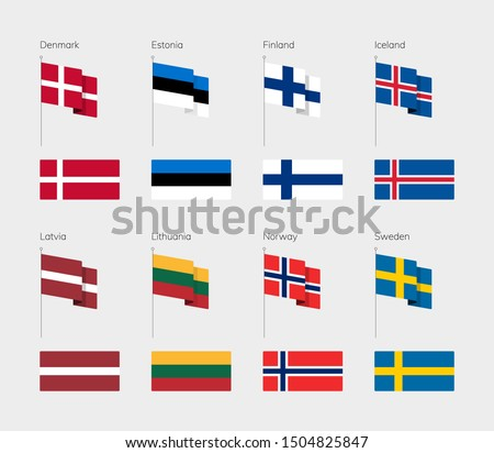 Countries of Northern Europe according to the UN classification. Set of flags. Denmark, Estonia, Finland, Iceland, Latvia, Lithuania, Norway, Sweden.