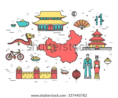 Country China travel vacation guide of goods, places in thin lines style design. Set of architecture, fashion, people, nature background concept. Infographic template for web and mobile on vector flat