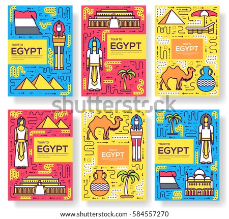 Country Egypt travel vacation guidevector brochure card thin line set. thinking the idea linear template of flyear, magazine, posters, book cover, banners. Layout research equipmen outline modern page