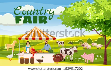 Country Fair Farmer Family Sells Harvest Products Grocery On Eco Farm Organic. Farm animals goose, turkey, duck, cow. House and farm buildings. Vector isolated carton style poster banner