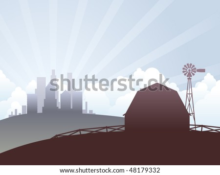 Country farm and city skyscrapers landscape illustration