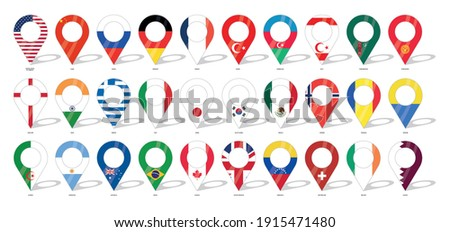 Country flag location sign. 30 flags. United States of America, Chine, Russia, Germany, Turkey, England, India, Greece, Italy and more countries flag icons. Flags of countries with check-ins.
