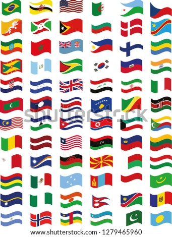 country flags vector,all country flags, country flags sticker, wavy flag