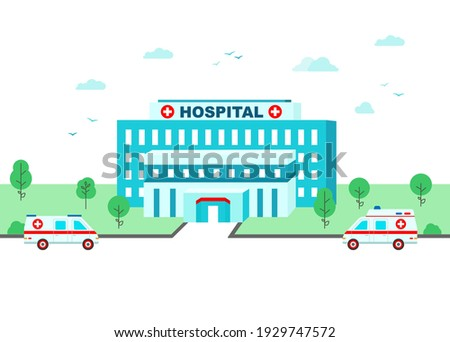Country hospital where ambulances arrive. Medical center building and help car in flat style. Vector illustration.