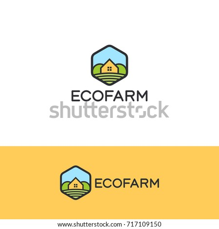 Country house, eco farm logo template for real estate agency, construction company, hotels