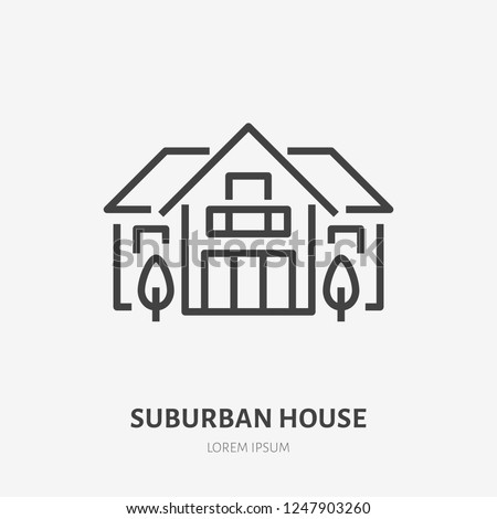 country house flat line icon