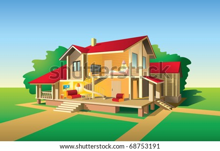 Country house without front wall, interior and exterior view in sunny day, vector illustration
