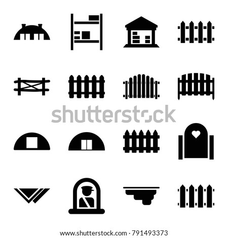 Country icons. set of 16 editable filled country icons such as fence, airport officer, gate, cargo barn, barn