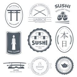 Country Japan label template of emblem element for your product or design, web and mobile applications with text. Vector illustration with thin lines isolated icons on stamp symbol