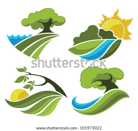 country landscape, vector collection sign, symbols and icons