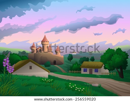 country landscape with castle
