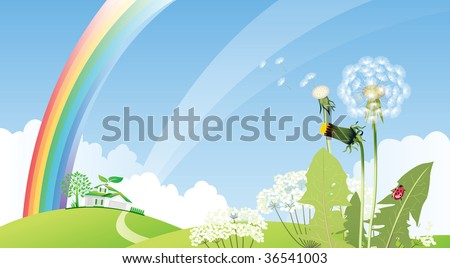 Country landscape with house. All elements and textures are individual objects. Vector illustration scale to any size.