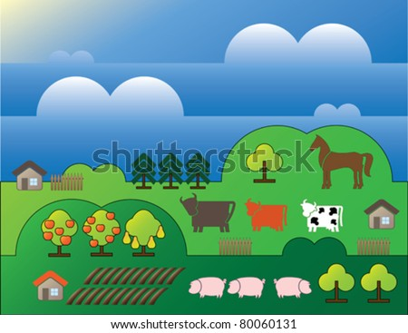 country landscape with trees and small houses background