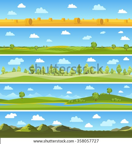 Country landscapes set