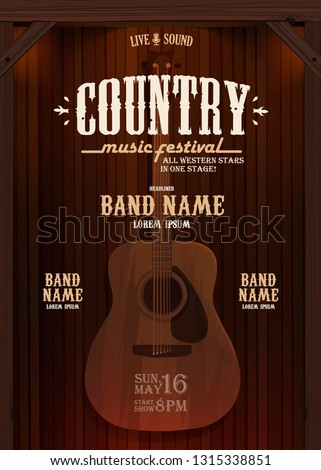 country music evening wild west vertical poster with guitar