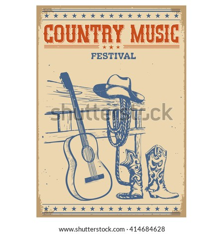 Country music festival poster on old paper background.Vector poster isolated on white